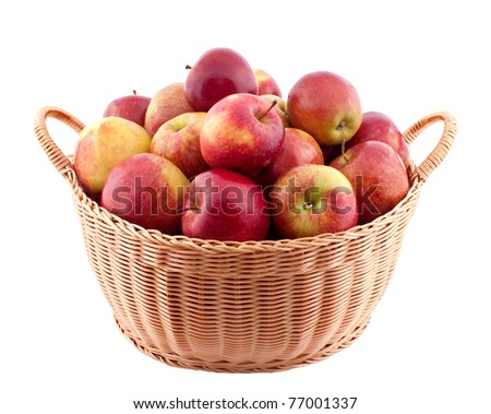 Wicker basket full of apples isolated on white #77001337