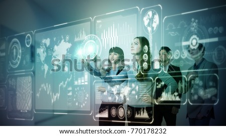Group of people operating futuristic GUI. #770178232