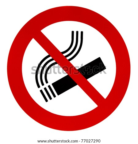 "Sign ""no smoking"", isolated on a white background."