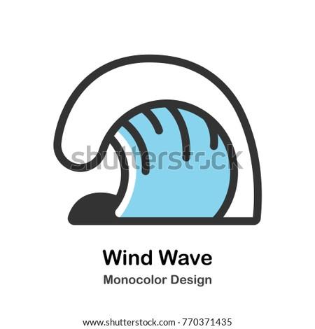 Wind wave Mono-color vector illustration #770371435