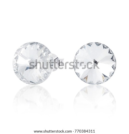 crystal stud earrings with reflection #770384311