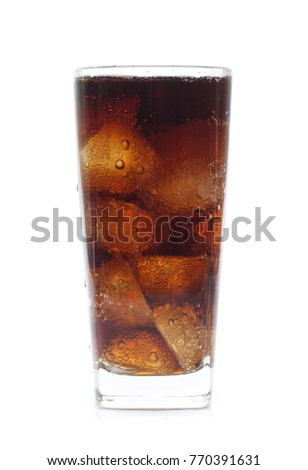 Cola in a glass isolated on white #770391631