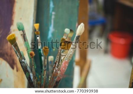 Painting Studio tools. Set of artistic brushes #770393938