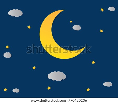 Vector night sky background stars and moon. #770420236