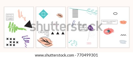 Set of artistic minimal universal card templates in Memphis style with abstract hand drawn doodles on white. Design for poster, card, invitation. Roughly drawn bright trendy textures. Vector isolated #770499301