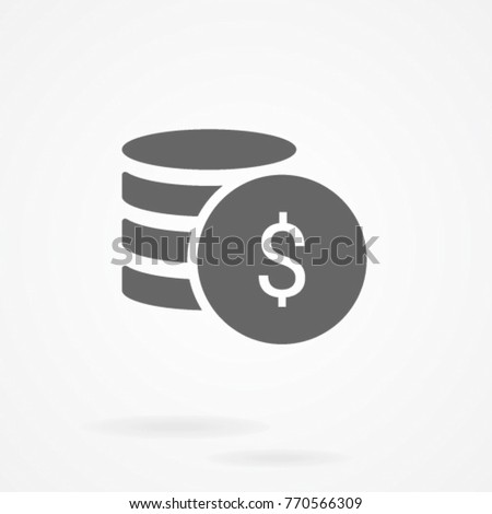 Flat money icon. Pile of cash. Dollar coin cent. Payment and banking #770566309