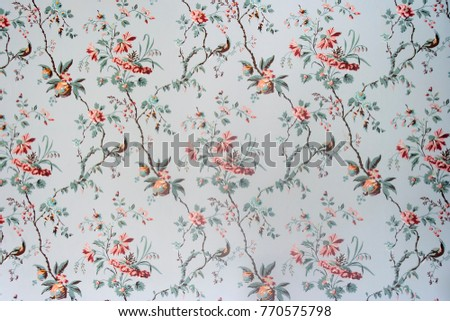 Vintage wallpaper - Floral pattern of 18th century #770575798