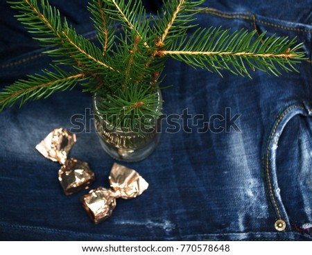 Christmas card with fir branches. View from above. #770578648