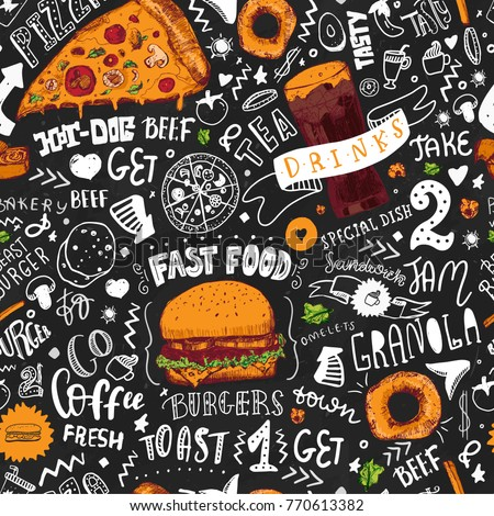 Fast Food seamless pattern in Hand Drawn Doodle Style with sketh Objects on Junk kitchen Theme with lettering. Chalkboard Design. Vector illustration. #770613382