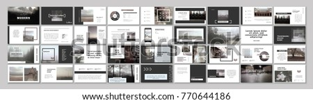 Original Presentation templates or corporate booklet.  Easy Use in creative flyer and style info banner, trendy strategy mockups.  Simple modern Slideshow or Startup. ppt.  Royalty-Free Stock Photo #770644186