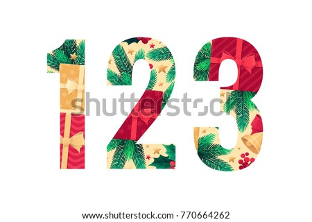 Christmas alphabet set. Green fir branches, holly leaves, berries, gift boxes, golden bells with red bow, stars. Retro vector lnumbers 1, 2, 3 #770664262