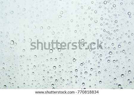 Water drops on car glass.rain drops on clear window #770818834