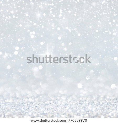 Christmas light background.  Holiday glowing backdrop. Defocused Background With Blinking Stars. Blurred Bokeh. #770889970