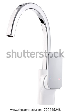 Mixer cold hot water. Modern faucet  bathroom.  Kitchen tap  . Isolated  white background. Side view. #770945248