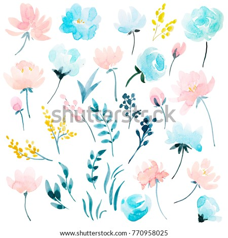 watercolour floral  set , delicate flowers, yellow, blue and pink flowers, greeting card template #770958025
