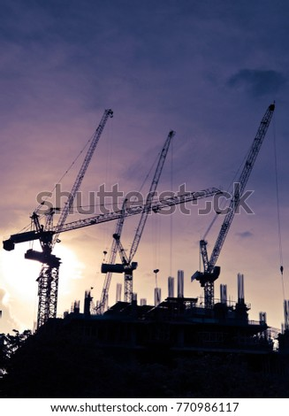 Under construction building in the evening with sunset #770986117