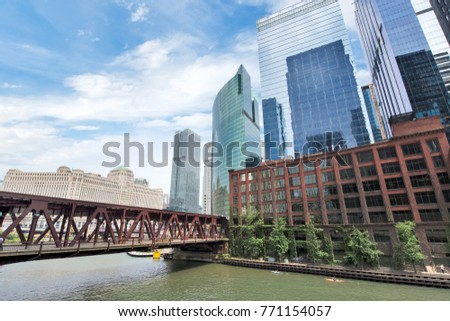 Northern Riverwalk on North Branch Chicago River in Chicago, Illinois #771154057