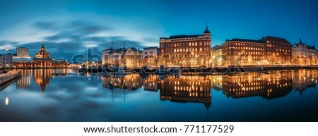 Helsinki, Finland. Panoramic View Of Kanavaranta Street With Uspenski Cathedral And Pohjoisranta Street In Evening Night Illuminations. #771177529