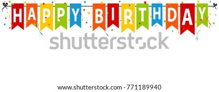 Happy Birthday Banner, Background - Editable Vector Illustration