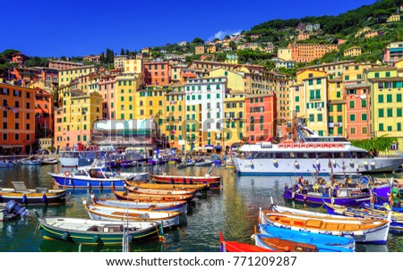 Colorful traditional houses in the Old Town harbour of Camogli, Genoa, Italy Royalty-Free Stock Photo #771209287