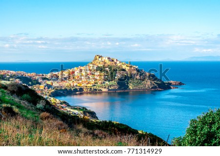 View of ancient village of Castelsardo - Sardinia in a cloudy day of spring #771314929