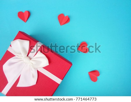 Valentines day concept with hearts and gift box. #771464773