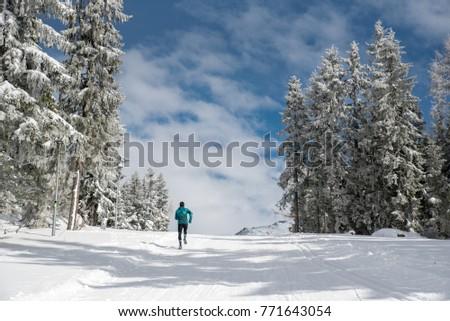 Runner, winter nature #771643054