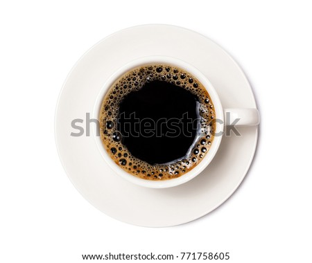 black coffee in a coffee cup top view  isolated on white background. with clipping path. #771758605