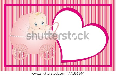 New born baby card design. Illustration isolated on white background