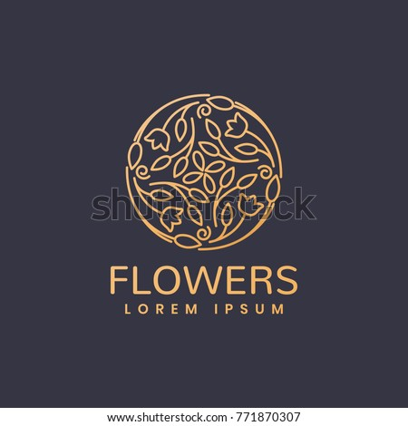 Floral logo. Flower icon. Floral emblem. Cosmetics, Spa, Beauty salon, Decoration, Boutique logo. Luxury, Business, Royal Jewelry, Hotel Logo. Interior Icon. Resort and Restaurant Logo. #771870307