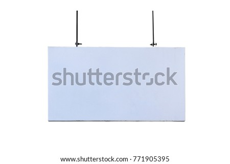 white sign on isolate on white background