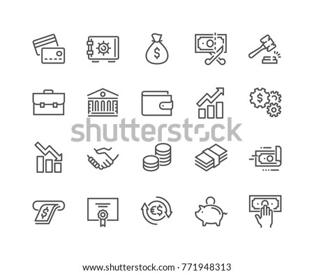 Simple Set of Finance Related Vector Line Icons.  Contains such Icons as Taxes, Money Management, Handshake and more. Editable Stroke. 48x48 Pixel Perfect. #771948313