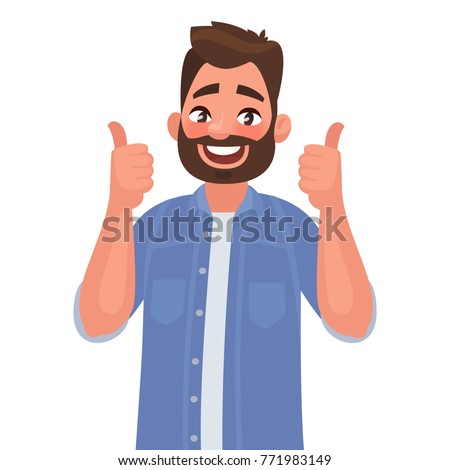 Happy man shows gesture cool. Vector illustration in cartoon style