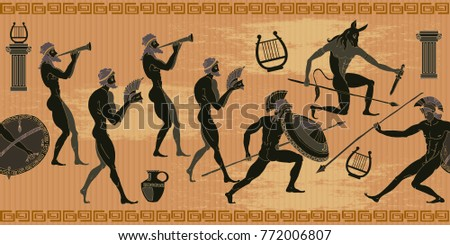 Ancient Greece seamless pattern. Black figure pottery. Hunting for a Minotaur, gods, fighter pattern #772006807