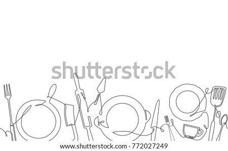 Cooking Pattern. Background with Utensils. One Line style. Outline Kitchen Cutlery. Can be used for bakery,  cafe, restaurant, bar, shop, kitchen classes, cafe, studio. Vector illustration. Royalty-Free Stock Photo #772027249