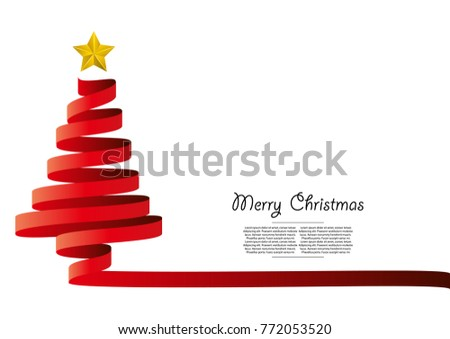 Red ribbon curve design christmas tree #772053520