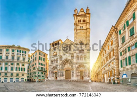Cathedral of Genoa on sunrise - view from Piazza San Lorenzo square in Genoa, Liguria, Italy Royalty-Free Stock Photo #772146049