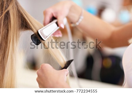 Picture showing adult woman at the hair salon #772234555