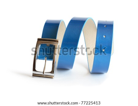 Nice blue belt with metal buckle on white background. Clipping path is included Royalty-Free Stock Photo #77225413