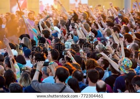 BARCELONA - JUN 1: People in a concert at Primavera Sound 2017 Festival on June 1, 2017 in Barcelona, Spain. #772304461