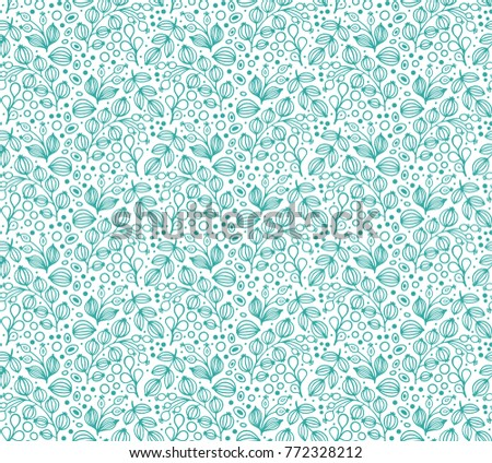 Seamless green vector floral pattern on white background #772328212