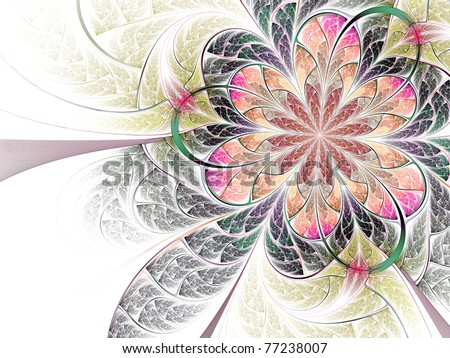 Colorful abstract fractal flower on white background #77238007