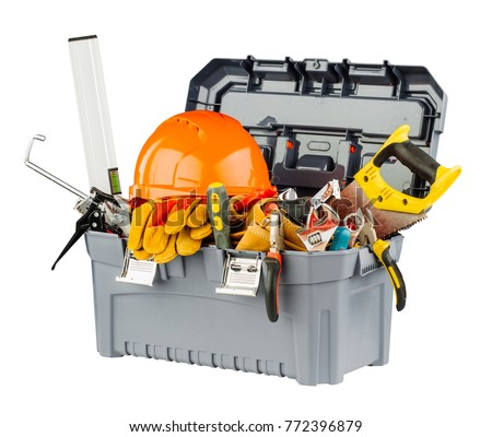 toolbox with orange helmet and different hand tools. #772396879