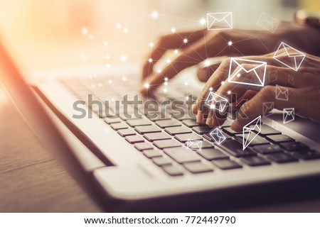 Business woman hand using Laptop pc with email icon, Email concept #772449790