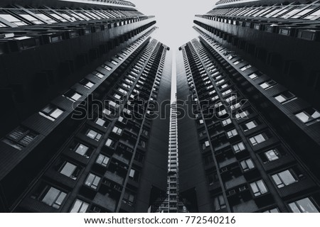 high rises building in black and white art photography of cityscape