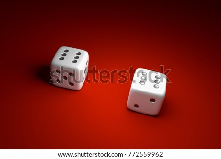 Two dice with number six on red casino background - gambling concept #772559962