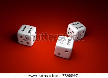 Three dice with number six on red casino background - gambling concept #772559974