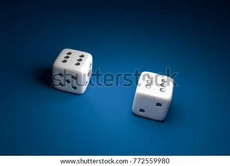 Two dice with number six on blue casino background - gambling concept #772559980