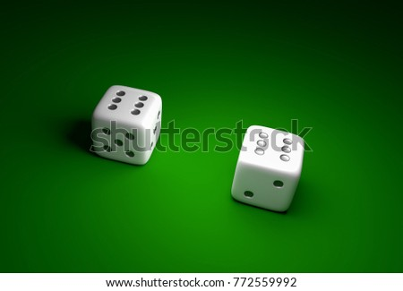 Two dice with number six on green casino background - gambling concept #772559992
