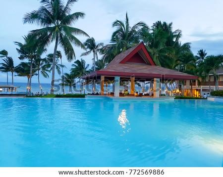Bohol Philippines   Aug 07 2016 Swimming pool and Pool bar Henann Resort Alona Beach, Bohol Panglao Philippines #772569886